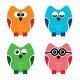 Owl Cartoon Icons Set