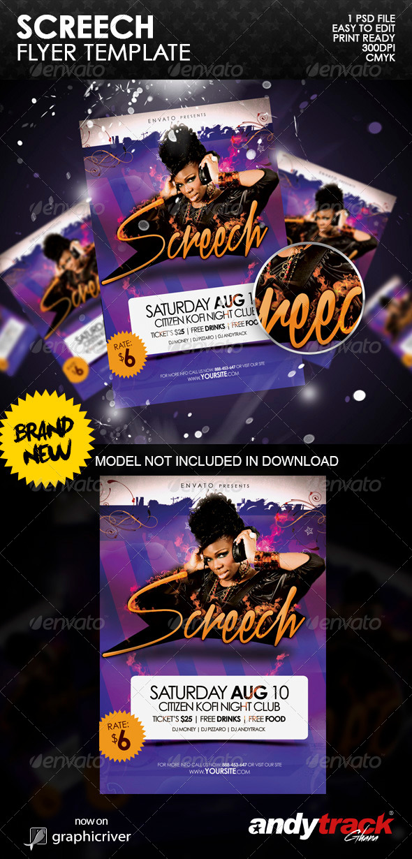 GraphicRiver Screech Party Flyer Template 6501269