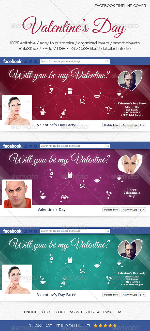 GraphicRiver Valentine s Day Facebook Timeline Cover 6552535