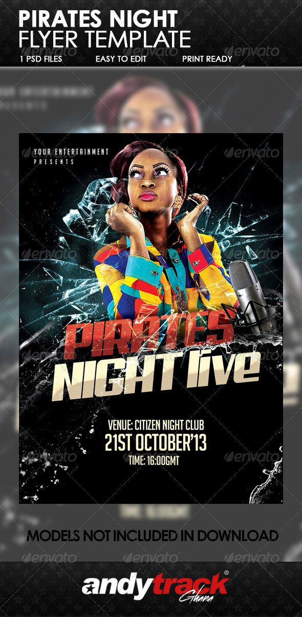 GraphicRiver Pirate Night Live Flyer Template 6501176