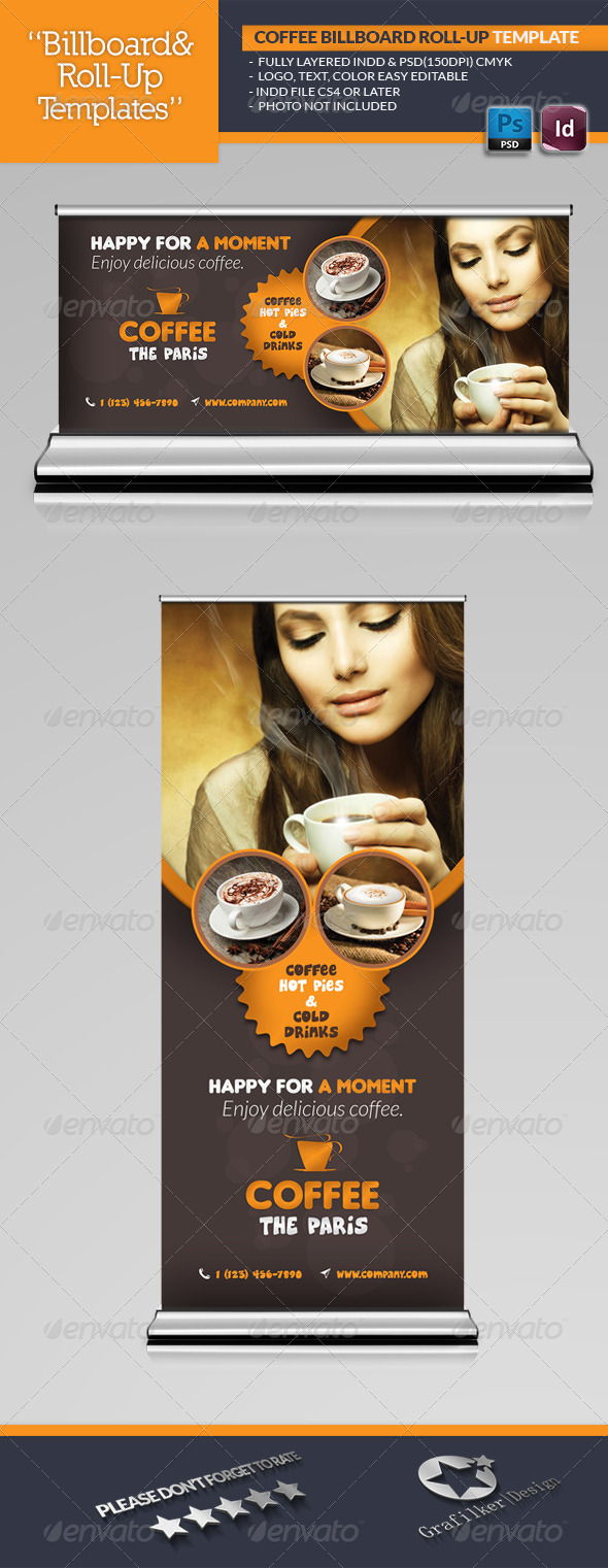GraphicRiver Coffee Billboard Roll-Up Template 6552635