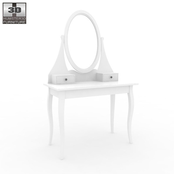 ikea hemnes dressing table with mirror 3d model by humster3d 3docean. Black Bedroom Furniture Sets. Home Design Ideas