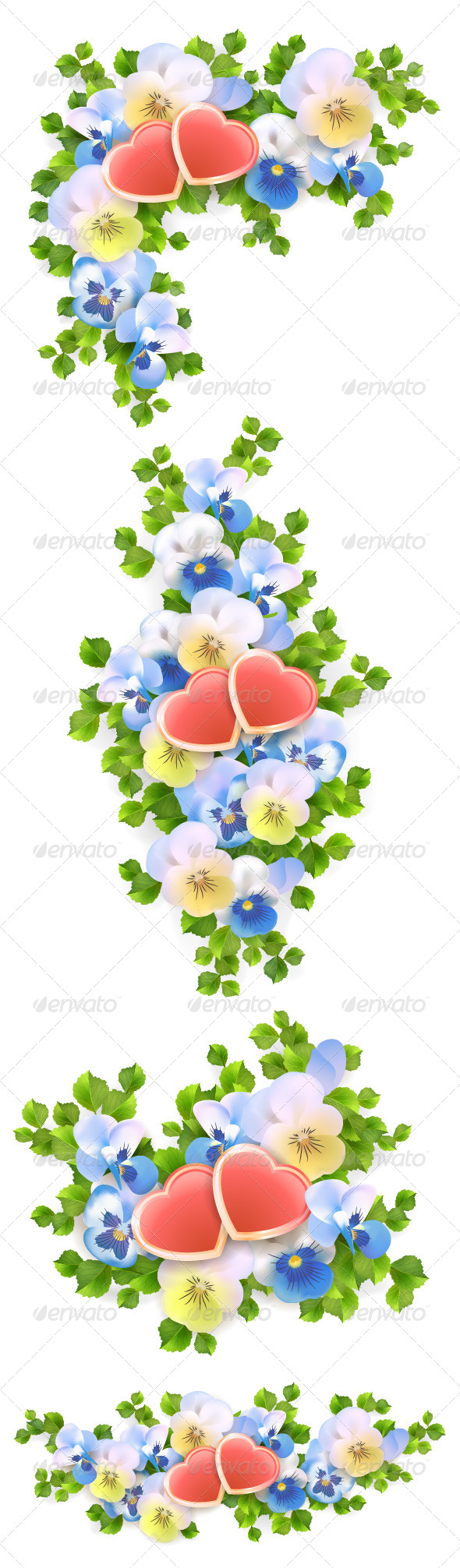 GraphicRiver Flowers Bouquet Hearts on White Background 6552661