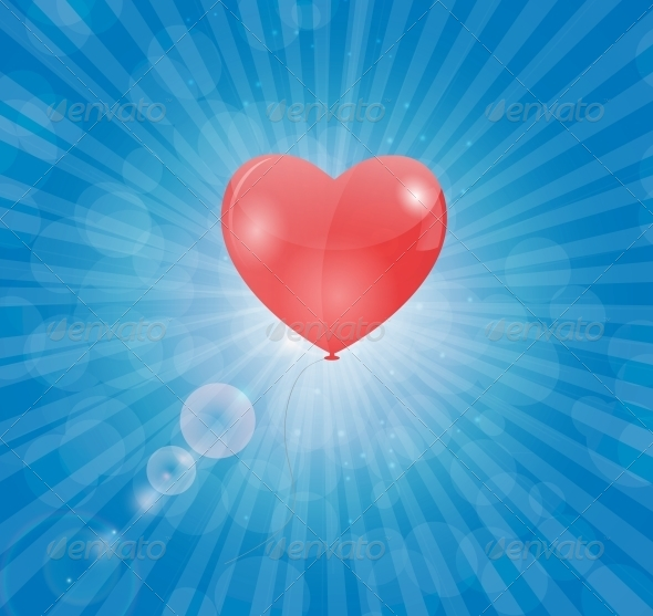 GraphicRiver Happy Valentines Day Card with Heart Balloon 6552773