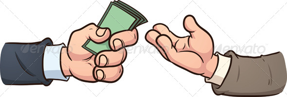 Hand giving money. Vector clip art illustration with simple gradients ...
