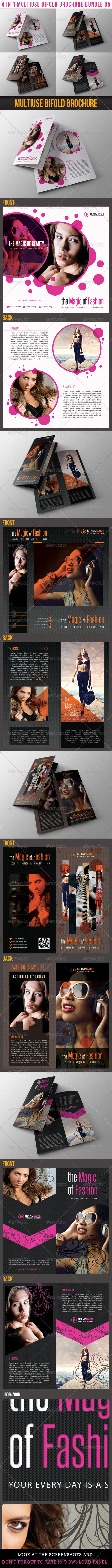 GraphicRiver 4 in 1 Fashion Multiuse Bifold Brochure Bundle 05 6553456