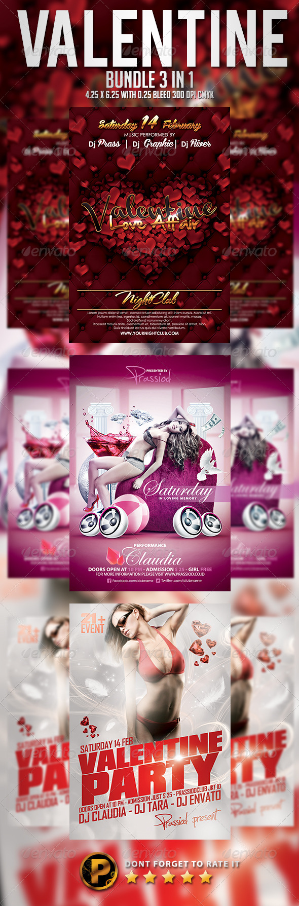 Valentine Flyer Template - Bundle 3 In 1 - Clubs & Parties Events