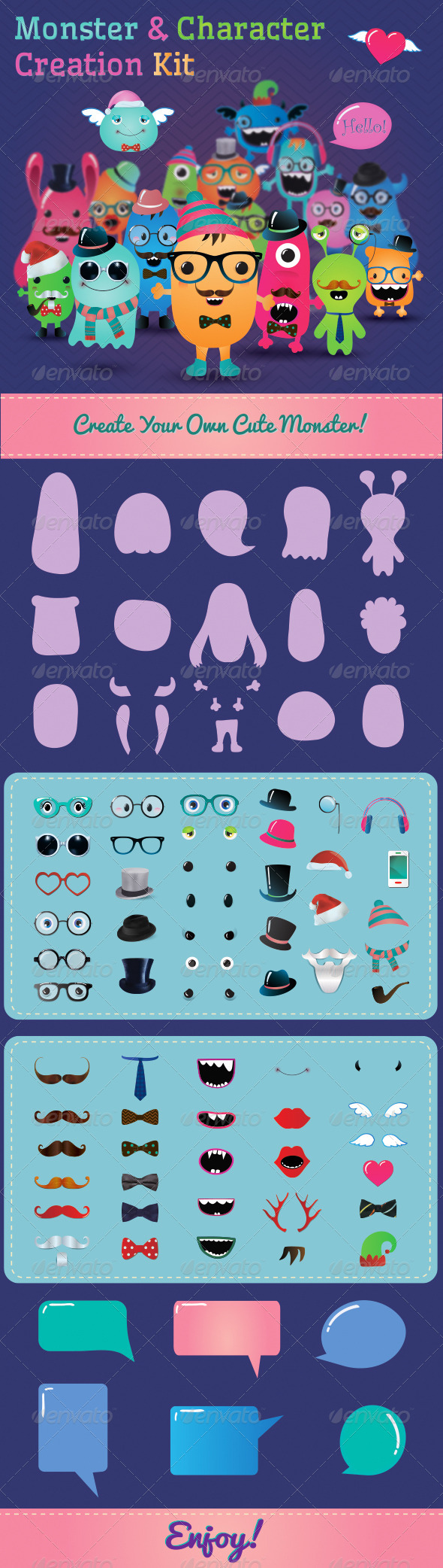 GraphicRiver Hipster Monster and Character Creation Kit 6553653