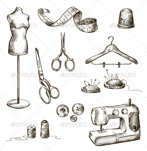 GraphicRiver Set of Sewing Accessories 6536465