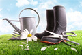 Boots with watering can and daisy in grass - PhotoDune Item for Sale