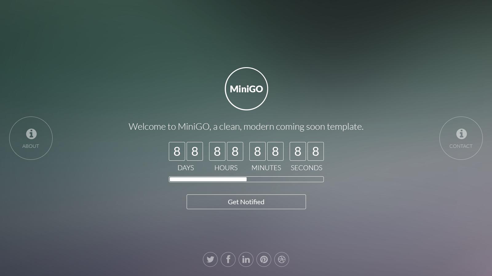 MiniGO - Uber Minimal Flat Coming Soon Page