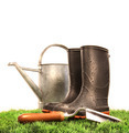 Garden boots with tool and watering can - PhotoDune Item for Sale