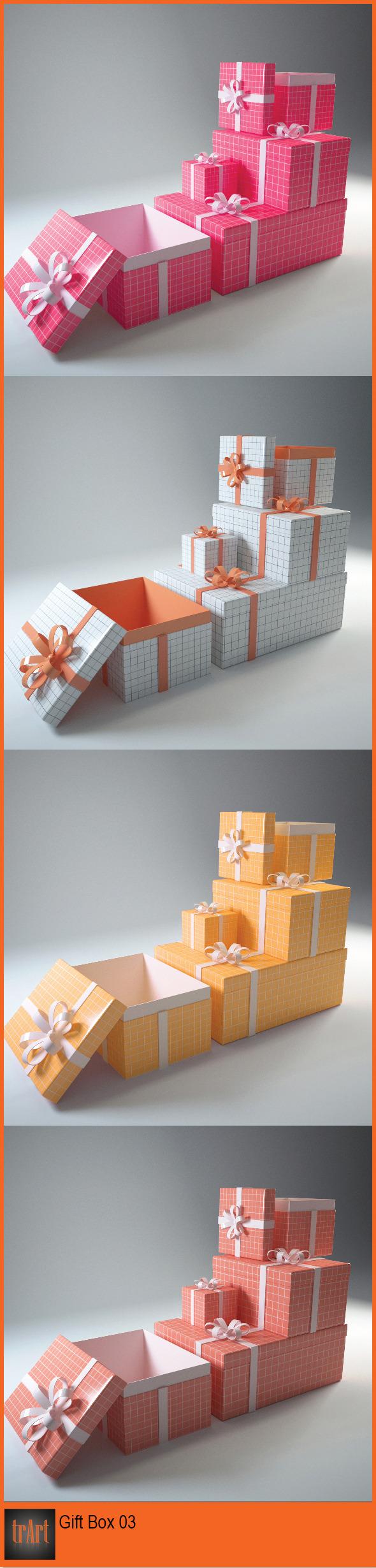 3docean gift box 6554180 3d model gift model free dmodel love holiday