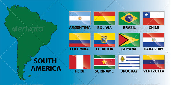 GraphicRiver South America Continent & Country Flags 6546831
