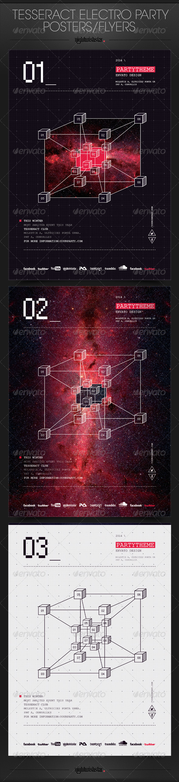 GraphicRiver Tesseract Electro Party Posters Flyers 6547743