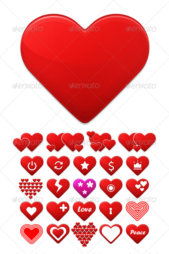 GraphicRiver Heart Icons Set 6554691