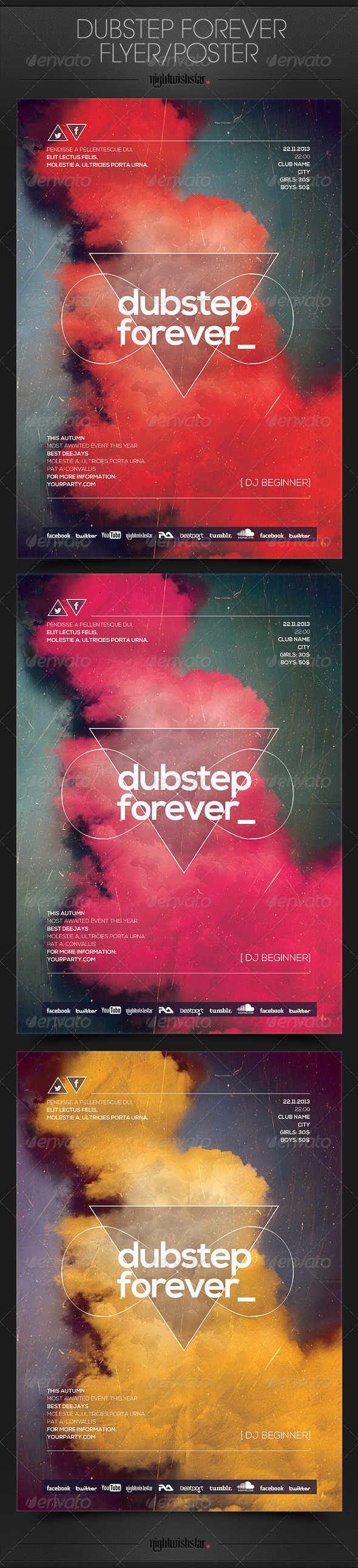 GraphicRiver Dubstep Forever Party Posters Flyers 6554842