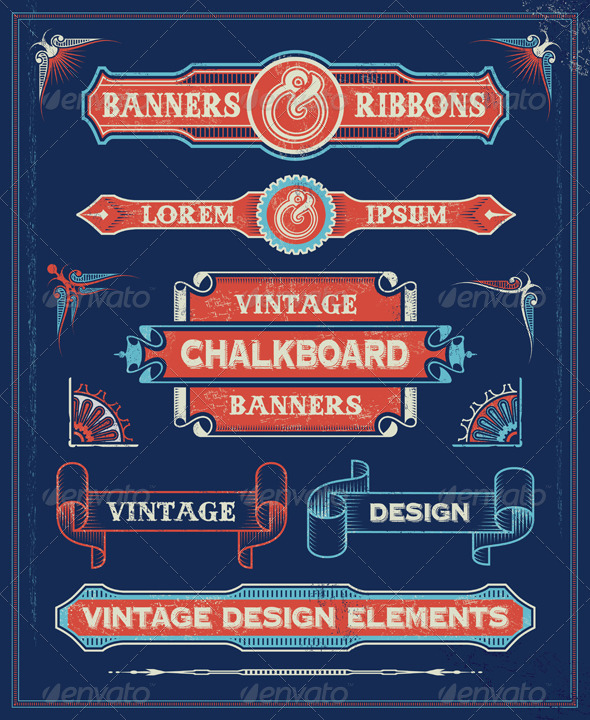 GraphicRiver Retro Vintage Banners and Ribbons 6555019