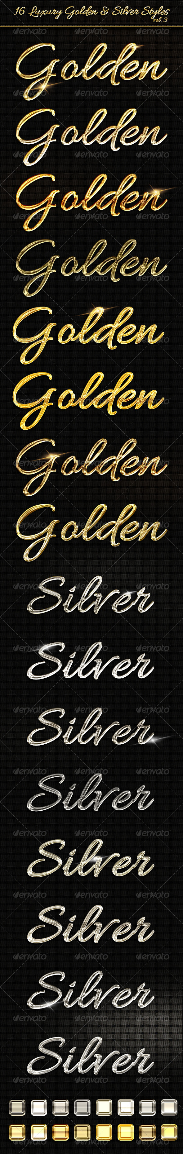 16 Luxury Golden & Silver Text Styles vol3 - Text Effects Styles