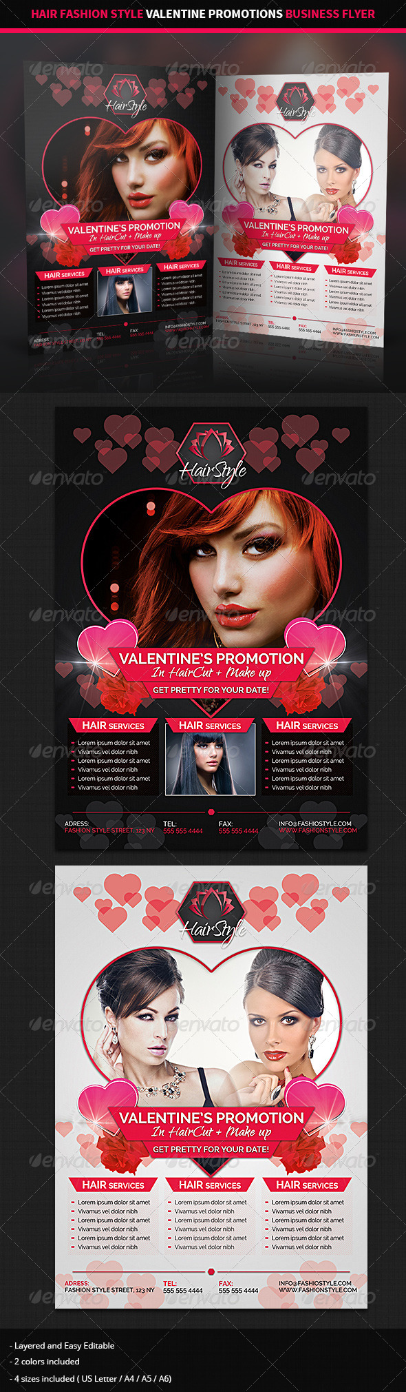 GraphicRiver Hair Salon Valentine Promotions Business Flyer 6556181