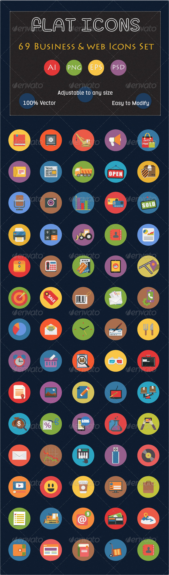 GraphicRiver 69 Flat Icons Set Business and Web Services Icon 6556184