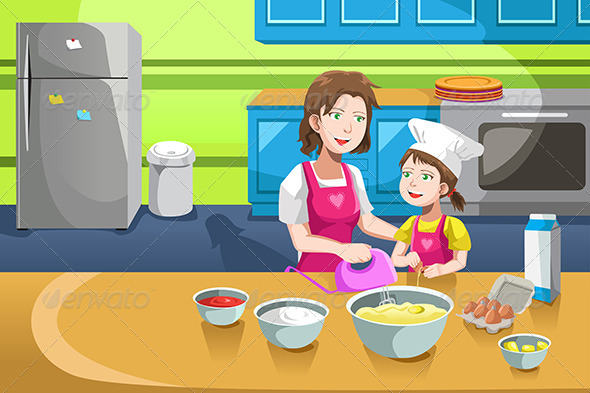 GraphicRiver Mother Daughter Baking 6556237