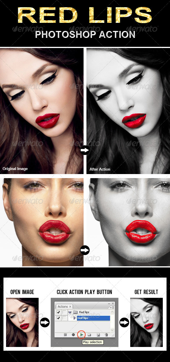 GraphicRiver Red Lips Photoshop Action 6556430