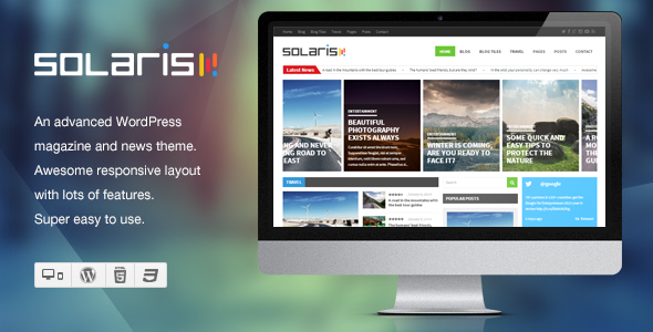 ThemeForest Solaris Responsive WordPress Magazine Theme 6556624