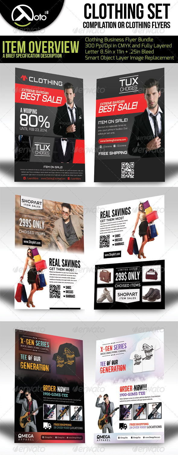 Clothing Store Flyer Bundle Set  - Flyers Print Templates