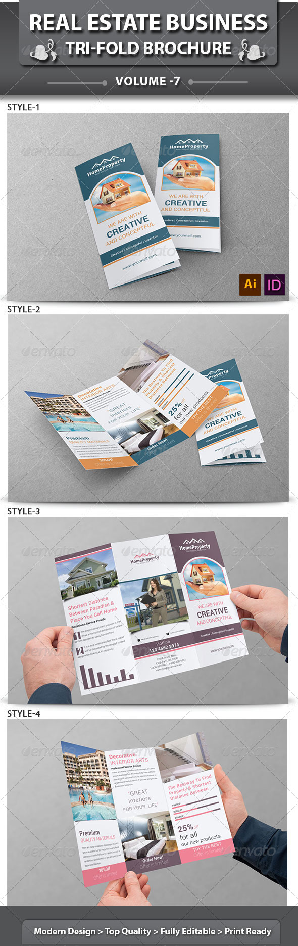 GraphicRiver Real Estate Business Tri-Fold Brochure Volume 7 6556830