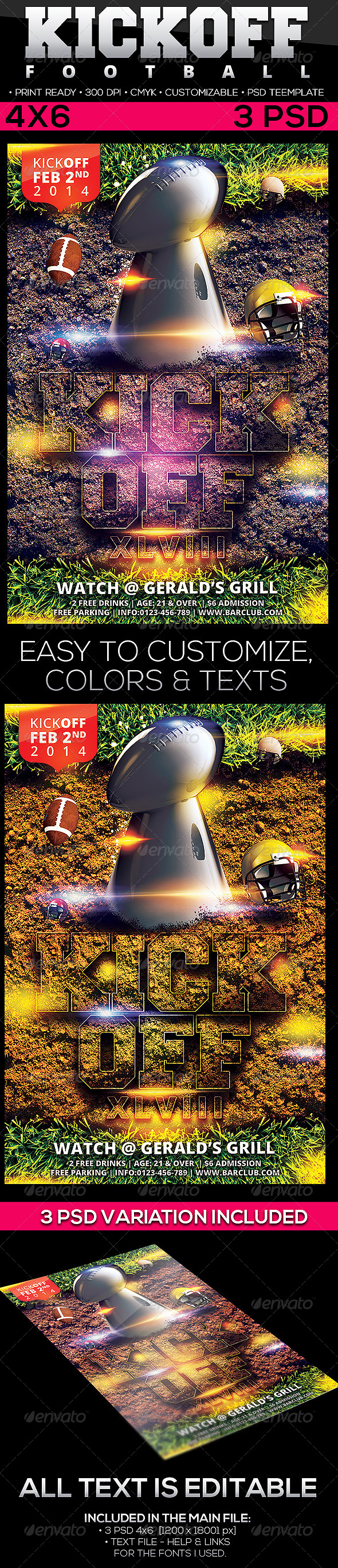 GraphicRiver Kickoff Football Flyer Template 6556925