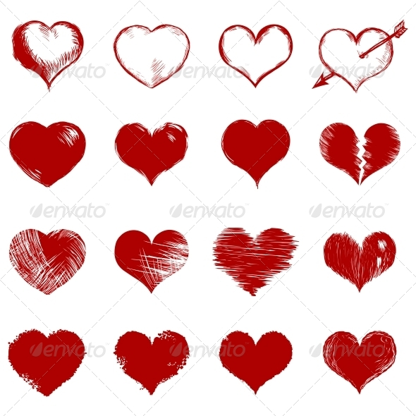 GraphicRiver Vector Set of Red Sketch Hearts 6557694