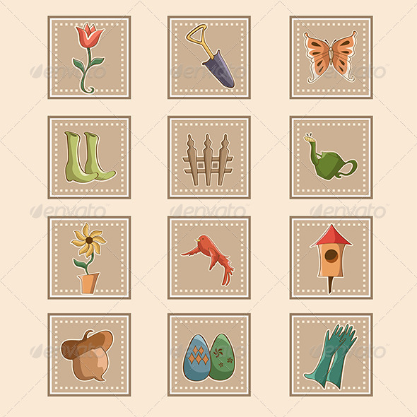 GraphicRiver Spring Gardening Icons 6558072