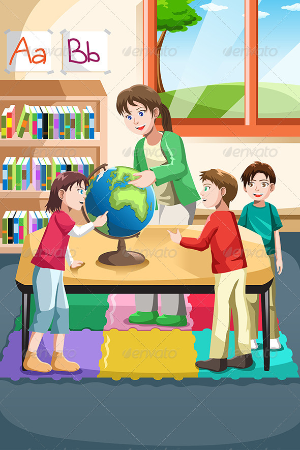 GraphicRiver Kindergarten Teacher and Students 6558269