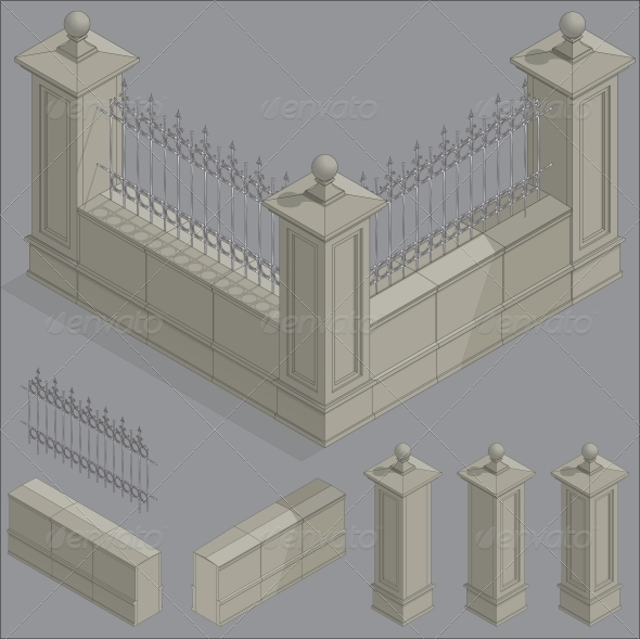 GraphicRiver Isometric Fence Construction Kit 6558375