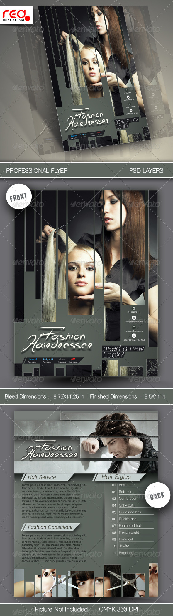 GraphicRiver Hair Salons Flyer Template 6558950