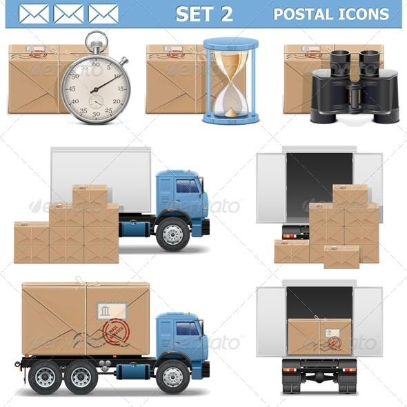 Vector Postal Icons Set 2