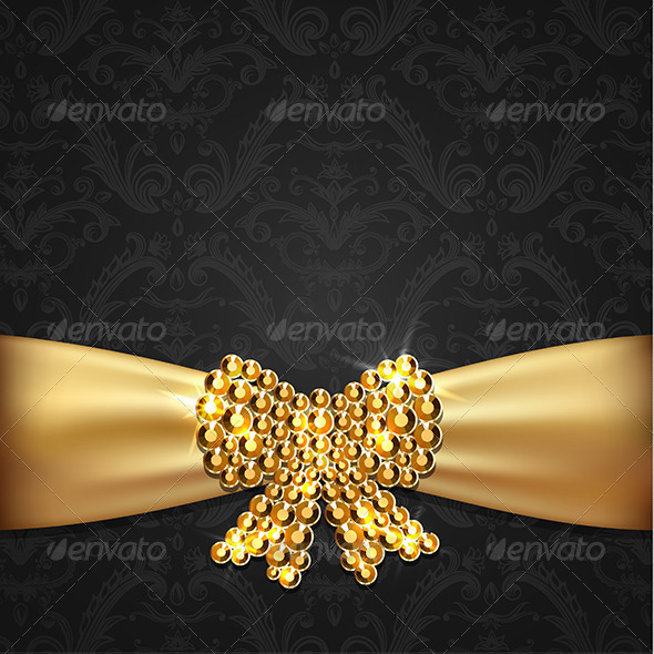 GraphicRiver Golden Ribbon with Diamond Bow Decoration 6559272