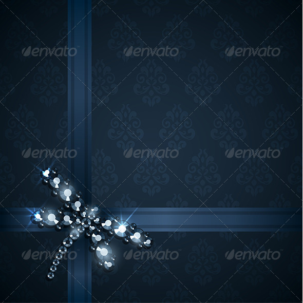 Ribbons and Diamond Dragonfly Decoration - Decorative Vectors