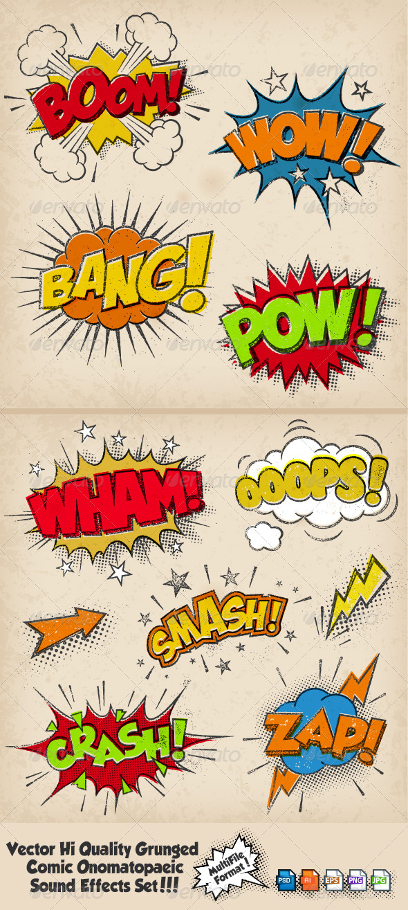 GraphicRiver Grunged Multicolored Comic Sound Effects 6559753