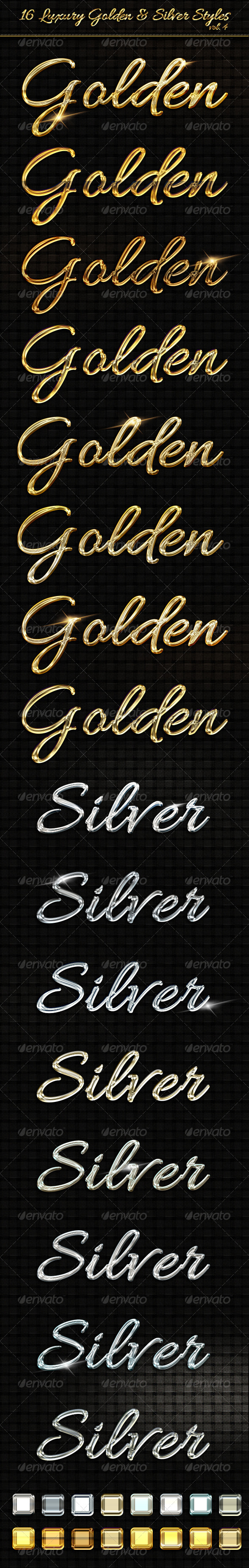 16 Luxury Golden & Silver Text Styles vol4 - Text Effects Styles