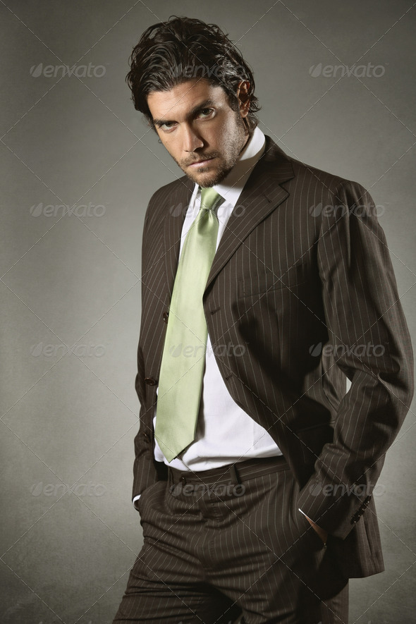 Businessman with resolute gaze - Stock Photo - Images