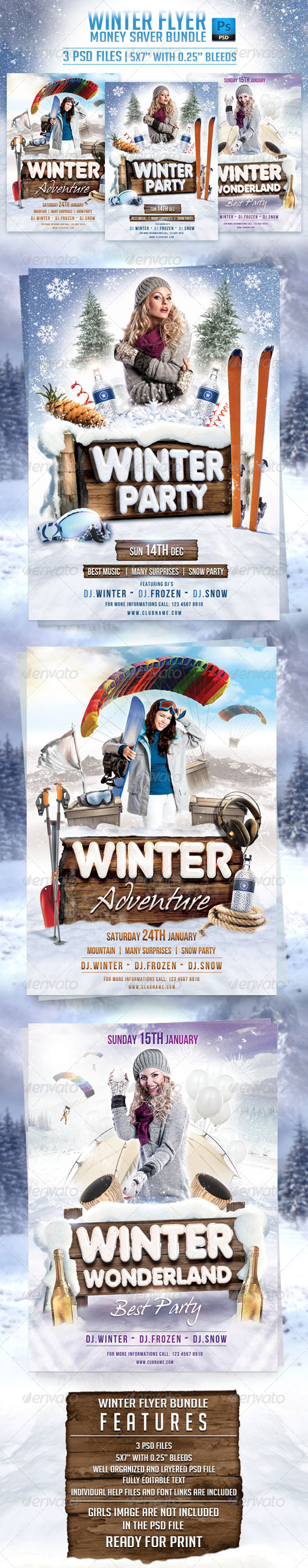 GraphicRiver Winter Flyer Bundle 6560123