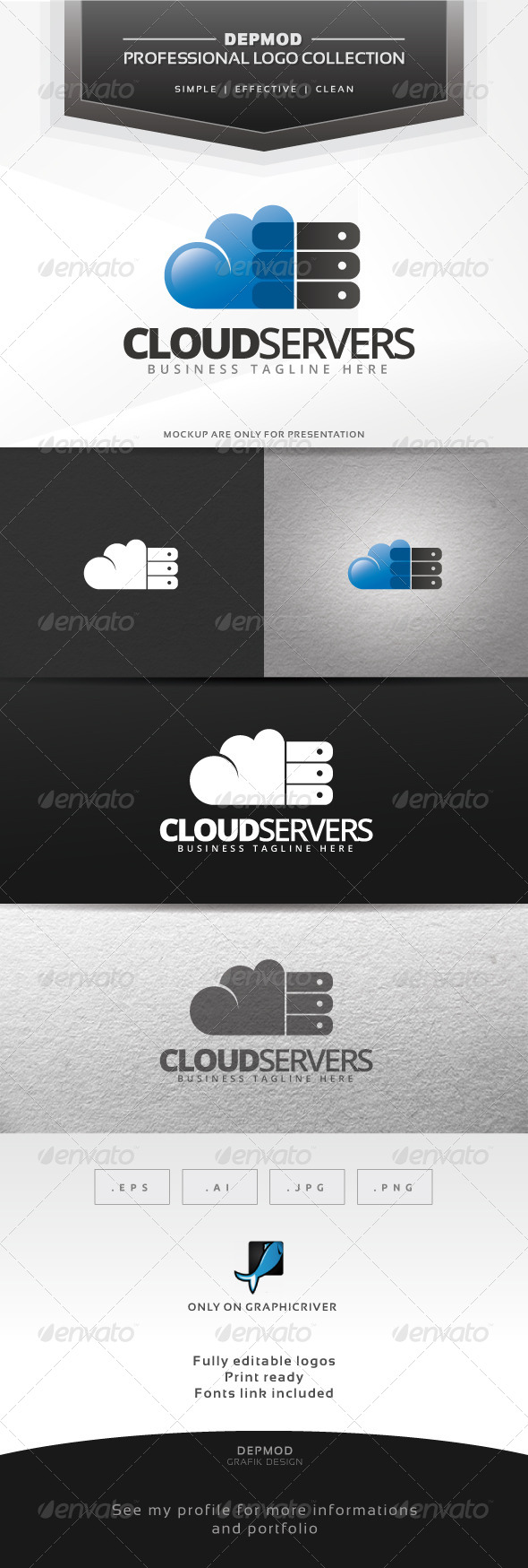 Cloud Servers Logo - Symbols Logo Templates