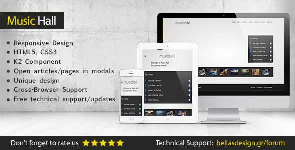 Music Hall - Responsive Joomla Template