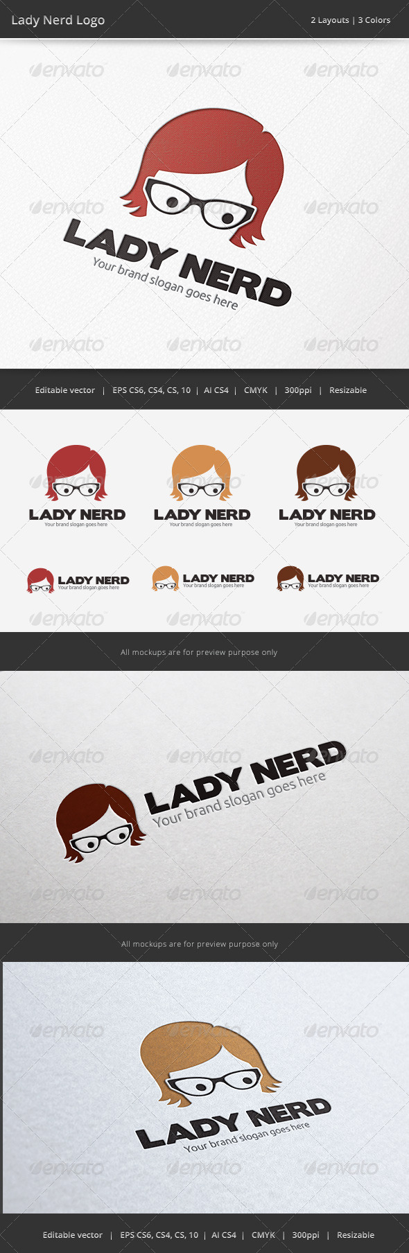 GraphicRiver Lady Nerd Logo 6562188