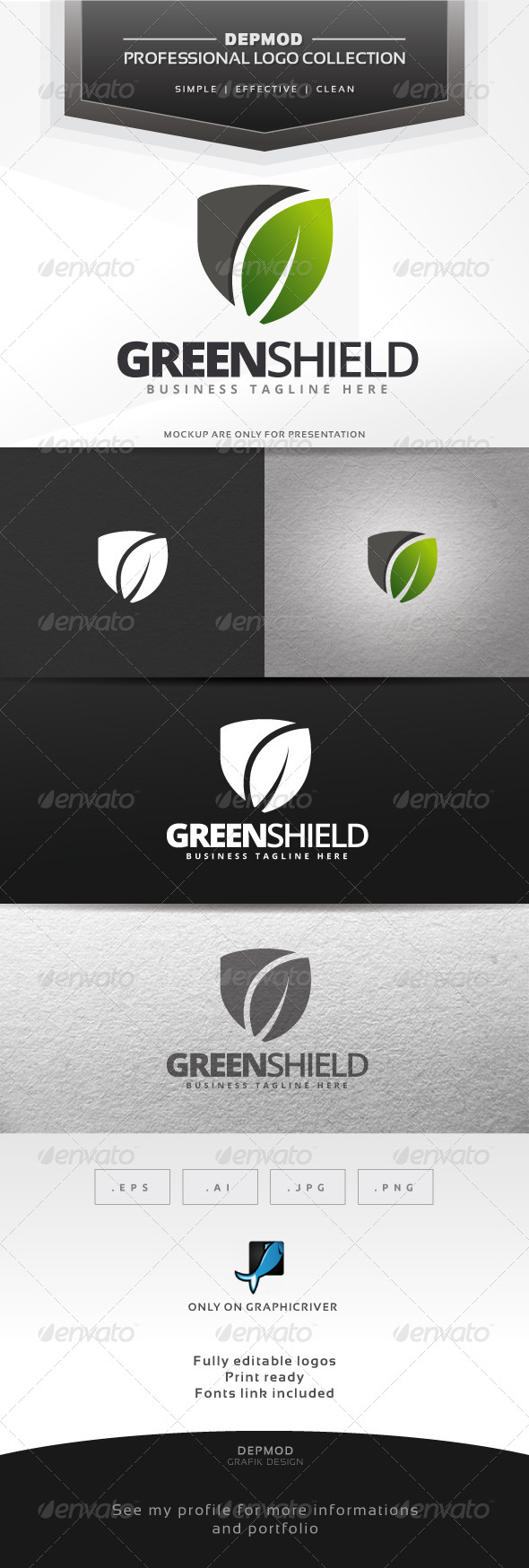 GraphicRiver Green Shield Logo 6562377