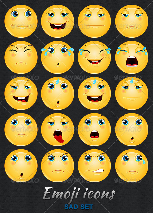 Emoji Emoticon Sad Icons Set