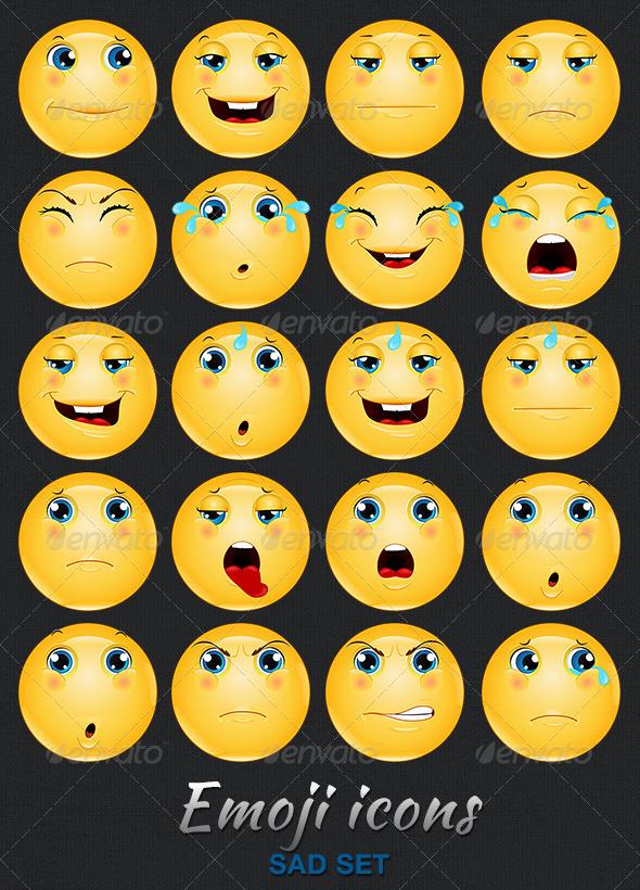 Emoji Emoticon Sad Icons Set