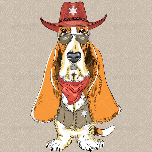 GraphicRiver Cartoon Hipster Dog Basset Hound 6563425